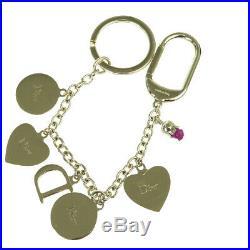 Authentic Christian Dior Cannage Key Chain Ring Bag Charm Gold-Tone 06EW248