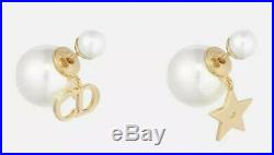 Authentic Christian Dior Tribale Gold Tone Charm / Pearl Earrings (Tribal)