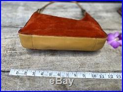 Authentic Gucci Vintage Suede Orange Gold Tone GG Charm SatchelBag Rare