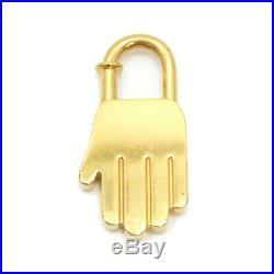 Authentic HERMES 2002 ANNEE DE LA MAIN Cadena Bag Charm Gold Tone Brass #S160019