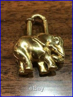 Authentic HERMES Gold Tone Elephant Cadena Charm Pendant Charm
