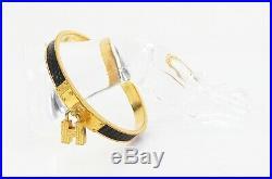 Authentic HERMES Kelly H Charm Goldtone Black Leather Bangle Bracelet #33100C