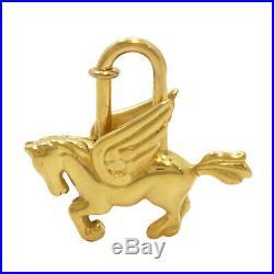 Authentic HERMES Pegasus Motif Cadena Lock Bag Charm Gold Tone Brass #S305009