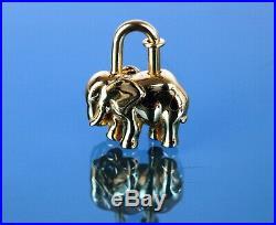 Authentic Hermes Gold Tone Elephant Motif Cadena Lock Bag Charm Pendant Good