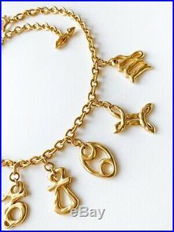 Authentic Kenzo Paris Gold Tone Gorgeous 9 Charm Choker Necklace Vintage
