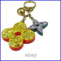 Authentic LOUIS VUITTON LV Bag Charm Key Ring Monogram Plastic Gold tone 61BQ102