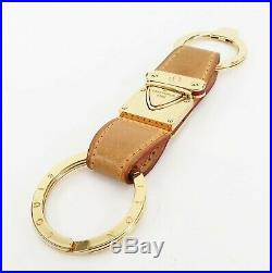Authentic LOUIS VUITTON Leather and Goldtone Key Ring and Charms #30695