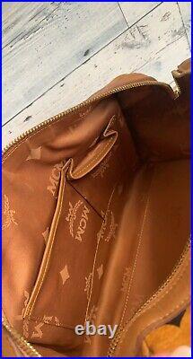 Authentic MCM Cognac Visetos Leather Coated Canvas Medium Boston With Bag Charm