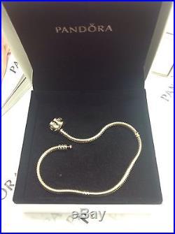 Authentic Pandora 14K Solid Gold 550702 Charm Bracelet 21cm / 8.3 New withBox