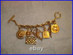 Authentic Rare Vintage Chanel Gold Tone Iconic Lucky Charms Charm Bracelet EVC