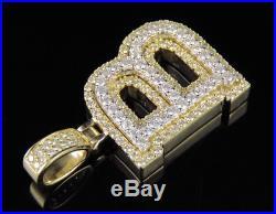 B Initial Custom Letter Diamond Pendant Charm In 10K Two Tone Gold 1 4/5 CT 1.5