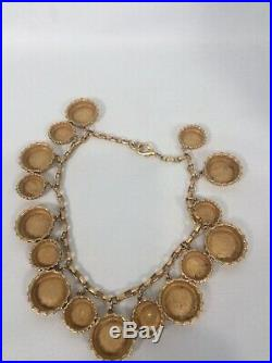 Beautiful Vtg Statement DKNY Donna Karan Bottle Caps Charms Gold Tone necklace