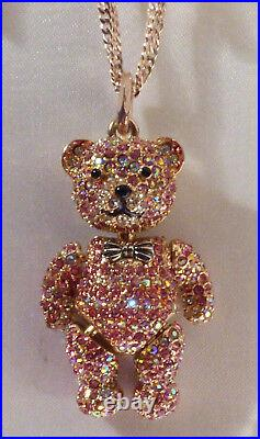 Betsey Johnson Pink Pave Crystal fully jointed Bear figurin Pendant Necklace NWT