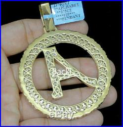 Big Bold 3 Yellow Gold Tone Sterling Silver Initial Letter A Charm Pendant Mens