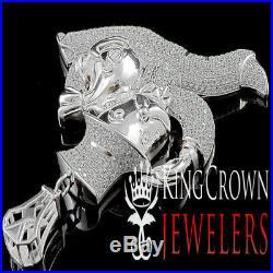 Big Custom Sterling Silver White Gold Tone Monopoly Money Bag Men Charm Pendant