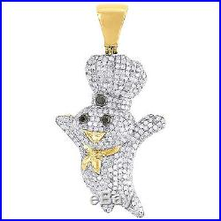 Black Diamond Doughboy Pendant Mens 10K Yellow Gold Round Pave Charm 1.82 Tcw