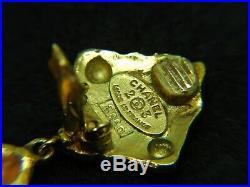 CHANEL 2 Charm Dangle Earrings Gold Tone Vintage No Box #2660