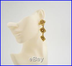 CHANEL 3 Charm Dangle Earrings Gold Tone Vintage withBOX #2240