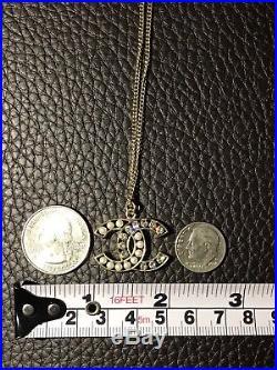CHANEL CC Logo Classic Charm Pearl Clear Swarovski Crystals Necklace 4 Ways Wear