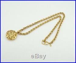 CHANEL CC Logo Filigree Charm Necklace 32 Gold Tone Vintage v1922