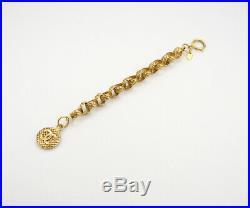 CHANEL CC Logo Mesh Charm Chain Bracelet Gold Tone Bangle v1811