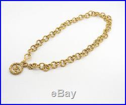 CHANEL CC Logo Round Charm Necklace 30 Gold Tone Vintage v1536