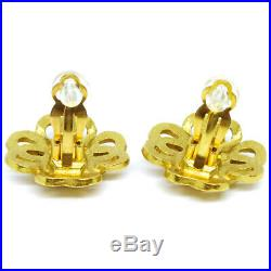 CHANEL CC Logos Charm Earrings Clip-On Gold-Tone 97P Accessories Vintage AK34460