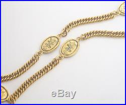 CHANEL CC Logos Coin charm Necklace 31 inch long Gold Tone Vintage j594