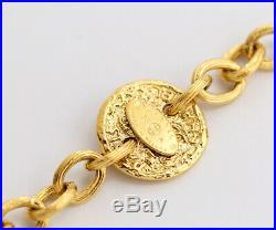CHANEL CC Logos Coin charm Necklace 34 inch long Gold Tone Authentic l557