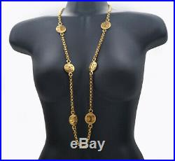CHANEL CC Logos Coin charm Necklace 35 inch long Gold Tone NN