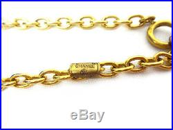 CHANEL CC Logos Coin charm Necklace 67 inch long Gold Tone 1980's Vintage