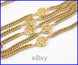 CHANEL CC Logos Coin charm Necklace 70 inch long Gold Tone Vintage v1676