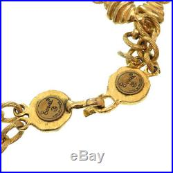 CHANEL CC Logos Coin charm Necklace / choker Gold Tone Vintage RARE