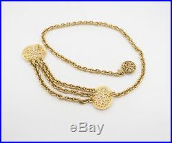 CHANEL CC Logos Filligree Charm Necklace/Belt Gold Tone 31 inch long v741