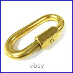 CHANEL CC Logos Hand Bag Charm Accessories Karabiner Gold-Tone 01090