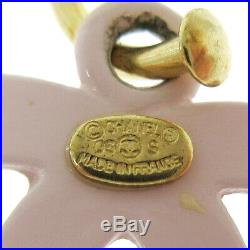 CHANEL CC Logos Shaking Charm Piercing Pink Gold-Tone 03S Accessories AK41510