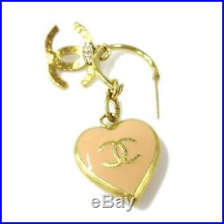 CHANEL CC Logos Shaking Heart Charm Piercing Gold-Tone 02P Accessories AK44411
