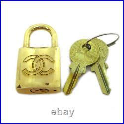 CHANEL CC logos Bag Charm Padlock Key Set Gold-tone Authentic 71367