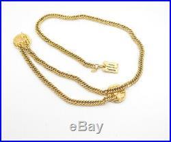 CHANEL Coin Charm Necklace/Belt Gold Tone 30 inch long Vintage v825