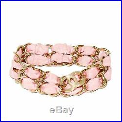 CHANEL Fashion Charm CC Logo Gold Tone Metal Pink Satin Chain Bracelet