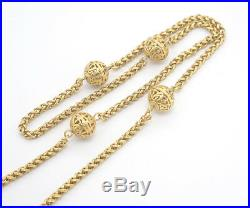 CHANEL Filigree Ball charm Necklace 33 inch long Gold Tone Vintage v768