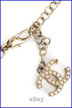CHANEL Gold Tone Ribbon Faux Pearl CC Iconic Charm Necklace EVHB