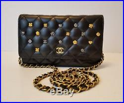CHANEL LUCKY CHARMS WOC Quilted Lambskin GoldTone CC Bag Wallet On Chain NEW