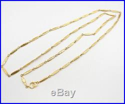 CHANEL Logo Charm Chain Necklace 70 inch long Gold Tone Vintage v851
