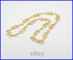 CHANEL Logo charm Necklace 33 inch long Gold Tone Vintage