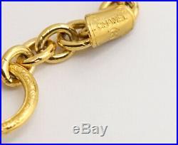 CHANEL Matelasse charm Necklace 74 inch long Gold Tone Vintage v829