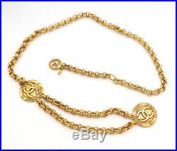 CHANEL Paris CC Logos Charm Necklace/Belt Gold Tone 37 inch long v824