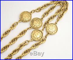 CHANEL Paris Coin Charm Chain Necklace Gold Tone Vintage