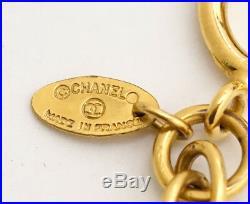 CHANEL Paris Coin Charm Chain Necklace Gold Tone Vintage #1246