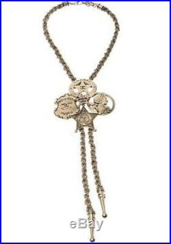 CHANEL Paris-Dallas Sheriff Star Gold Tone Bolo Chain Chocker Necklace